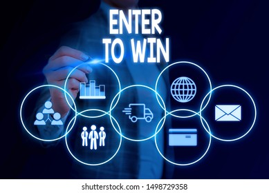 Word writing text Enter To Win. Business concept for exchanging something value for prize or chance of winning Woman wear formal work suit presenting presentation using smart device.