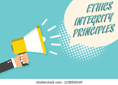 Word writing text Ethics Integrity Principles. Business concept for quality of being honest and having strong moral Man holding megaphone loudspeaker speech bubble blue background halftone.