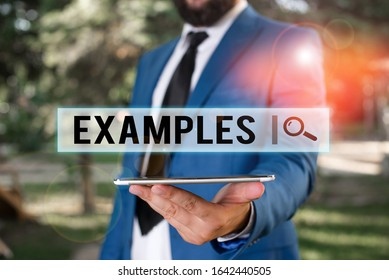 Word writing text Examples. Business concept for Illustration Sample Model to follow Guide Explanation For instance Businessman in blue suite stands with mobile phone in hands.