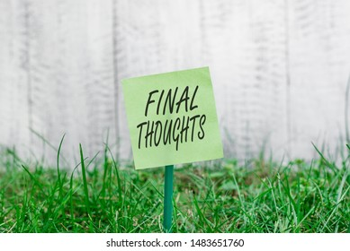 Word writing text Final Thoughts. Business concept for the conclusion or last few sentences within your conclusion Plain empty paper attached to a stick and placed in the green grassy land.
