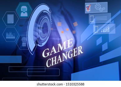 Word writing text Game Changer. Business concept for Sports Data Scorekeeper Gamestreams Live Scores Team Admins Woman wear formal work suit presenting presentation using smart device.