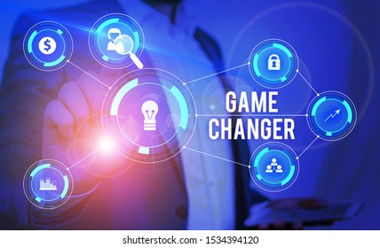 Word writing text Game Changer. Business concept for Sports Data Scorekeeper Gamestreams Live Scores Team Admins Male human wear formal work suit presenting presentation using smart device.