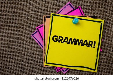 Word writing text Grammar Motivational Call. Business concept for System and Structure of a Language Writing Rules Papers Ideas messages important to remember information jute background.