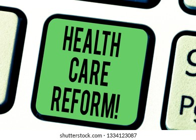 Word writing text Health Care Reform. Business concept for general rubric used for discussing major Medical policy Keyboard key Intention to create computer message pressing keypad idea.