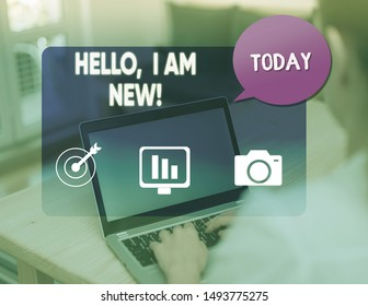 Word writing text Hello I Am New. Business concept for used as greeting or to begin telephone conversation.