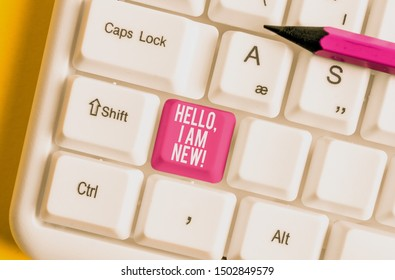 Word writing text Hello I Am New. Business concept for used as greeting or to begin telephone conversation White pc keyboard with empty note paper above white background key copy space.