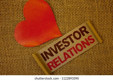 Word writing text Investor Relations. Business concept for Finance Investment Relationship Negotiate Shareholder Lavender pink page with red border and content pink paper heart lovely trice.