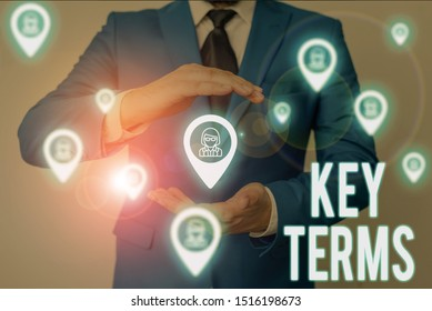 Word writing text Key Terms. Business concept for Words that can help a demonstrating in searching information they need Male human wear formal work suit presenting presentation using smart device.