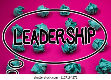 Word writing text Leadership. Business concept for Ability Activity involving leading a group of people or company Crumpled paper balls pattern eliptical design animated font background.