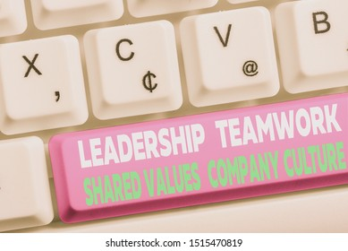 Word writing text Leadership Teamwork Shared Values Company Culture. Business concept for Group Team Success White pc keyboard with empty note paper above white background key copy space.