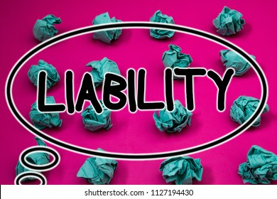 Word writing text Liability. Business concept for State of being legally responsible for something Responsibility Crumpled paper balls pattern eliptical design animated font background.