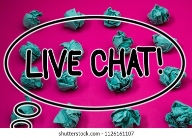 Word writing text Live Chat Motivational Call. Business concept for Real time media conversation Online communicate Crumpled paper balls pattern eliptical design animated font background.