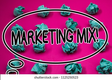 Word writing text Marketing Mix Motivational Call. Business concept for Actions to promote brand product in market Crumpled paper balls pattern eliptical design animated font background.
