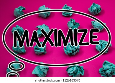 Word writing text Maximize. Business concept for Increase to the greatest possible amount or degree Make larger Crumpled paper balls pattern eliptical design animated font background.
