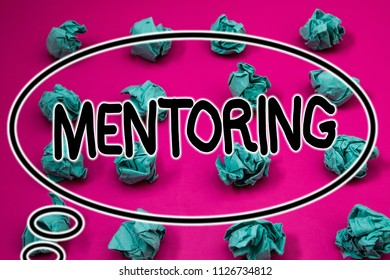 Word writing text Mentoring. Business concept for To give advice or support to a younger less experienced person Crumpled paper balls pattern eliptical design animated font background.