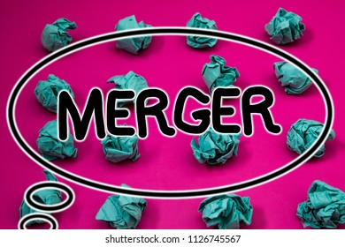 Word writing text Merger. Business concept for Combination of two things or companies Fusion Coalition Unification Crumpled paper balls pattern eliptical design animated font background.