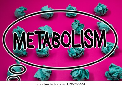 Word writing text Metabolism. Business concept for Chemical processes in body to produce energy food processing Crumpled paper balls pattern eliptical design animated font background.