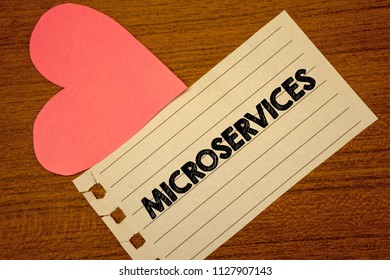 Word writing text Microservices. Business concept for Software development technique Decomposing an application Paperpiece page heart table background typing job clerk study material.