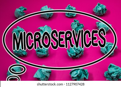 Word writing text Microservices. Business concept for Software development technique Decomposing an application Crumpled paper balls pattern eliptical design animated font background.