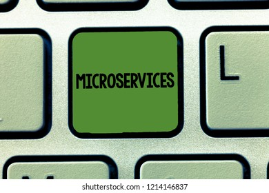 Word writing text Microservices. Business concept for Software development technique Building single function module