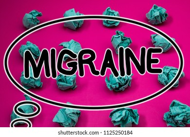 Word writing text Migraine. Business concept for Recurrent headache in one side of head nausea and disturbed vision Crumpled paper balls pattern eliptical design animated font background.