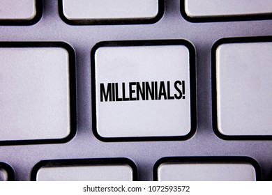 Word writing text Millennials Motivational Call. Business concept for Generation Y Born from 1980s to 2000s written white Keyboard Key with copy space. Top view.