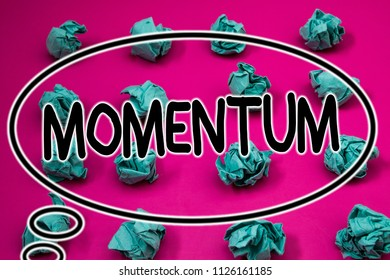 Word writing text Momentum. Business concept for Quantity motion in moving body Product of mass and velocity Crumpled paper balls pattern eliptical design animated font background.