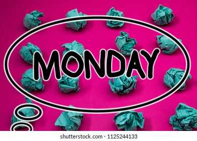 Word writing text Monday. Business concept for First day of the week Back to work Weekend is over Wakeup Early Crumpled paper balls pattern eliptical design animated font background.
