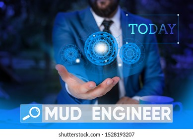 Word writing text Mud Engineer. Business concept for liable for making mixture of fluids used in drilling process Male human wear formal work suit presenting presentation using smart device.
