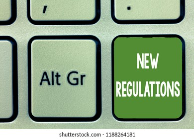 Word writing text New Regulations. Business concept for Regulation controlling the activity usually used by rules.