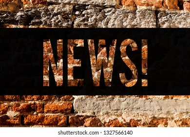 Word writing text News. Business concept for Report of recent events Previously unknown information Media broadcast Brick Wall art like Graffiti motivational call written on the wall.