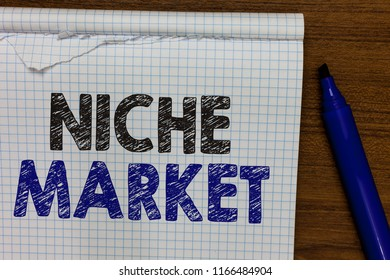 Word writing text Niche Market. Business concept for Subset of the market on which specific product is focused Marker besides notebook crumpled papers ripped pages several tries mistakes.