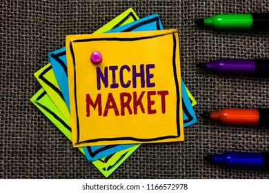 Word writing text Niche Market. Business concept for Subset of the market on which specific product is focused Paper notes Important reminders Communicate ideas Markers Jute background.