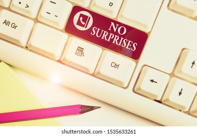 Word writing text No Surprises. Business concept for Presupposed Eventual Destined Traditional Set The Usual White pc keyboard with empty note paper above white background key copy space.