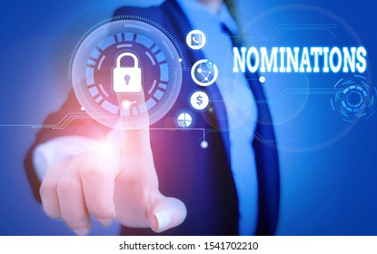 Word writing text Nominations. Business concept for action of nominating or state being nominated for prize Woman wear formal work suit present presentation using smart latest device.