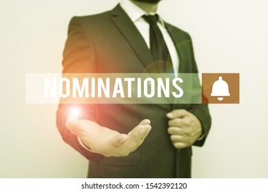 Word writing text Nominations. Business concept for action of nominating or state being nominated for prize Male human with beard wear formal working suit clothes raising one hand up.