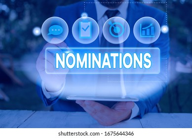 Word writing text Nominations. Business concept for action of nominating or state being nominated for prize.