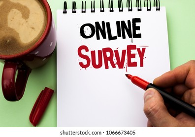 Word writing text Online Survey. Business concept for Digital Media Poll Customer Feedback Opinions Questionnaire written by Man on Notebook Book Holding Marker on the plain background Coffee Cup