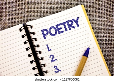 Word writing text Poetry. Business concept for Literary work Expression of feelings ideas with rhythm Poems writing Ball point pen work spring diary chronicle daily routine jute background.