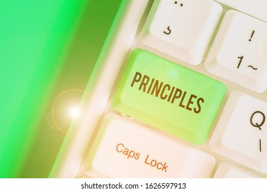 Word writing text Principles. Business concept for fundamental truth that serves as the base for a system of belief.