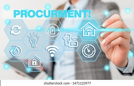 Word writing text Procurment. Business concept for action of acquiring military equipment and supplies Female human wear formal work suit presenting presentation use smart device.
