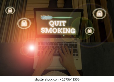 Word writing text Quit Smoking. Business concept for process of discontinuing tobacco smoking or cessation.