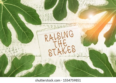 Word writing text Raising The Stakes. Business concept for Increase the Bid or Value Outdo current bet or risk Leaves surrounding notepaper above a classic wooden table as the background.