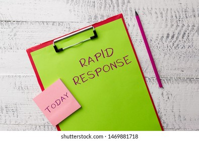 Word writing text Rapid Response. Business concept for Medical emergency team Quick assistance during disaster Metal clipboard paper sheets marker sticky notes pad wooden background.