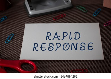 Word writing text Rapid Response. Business concept for Medical emergency team Quick assistance during disaster Scissors and writing equipments plus plain sheet above textured backdrop.