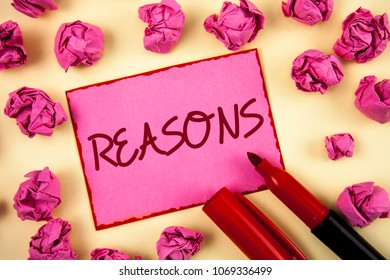 Word writing text Reasons. Business concept for Causes Explanations Justifications for an action or event Motivation written on Pink Sticky Note Paper on plain background Paper Balls and Marker.