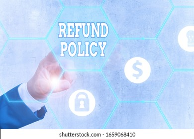 Word writing text Refund Policy. Business concept for refund or exchange defective merchandise previously buy.