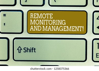 Word writing text Remote Monitoring And Management. Business concept for Long distance monitor data analysisager Keyboard key Intention to create computer message, pressing keypad idea.