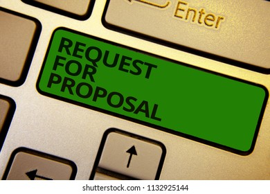 Word writing text Request For Proposal. Business concept for document contains bidding process by agency or company Computer learn software program keyboard button symbol typing office work.