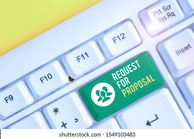 Word writing text Request For Proposal. Business concept for document contains bidding process by agency or company White pc keyboard with empty note paper above white background key copy space.